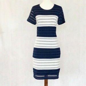 Saks Black label navy and white dress